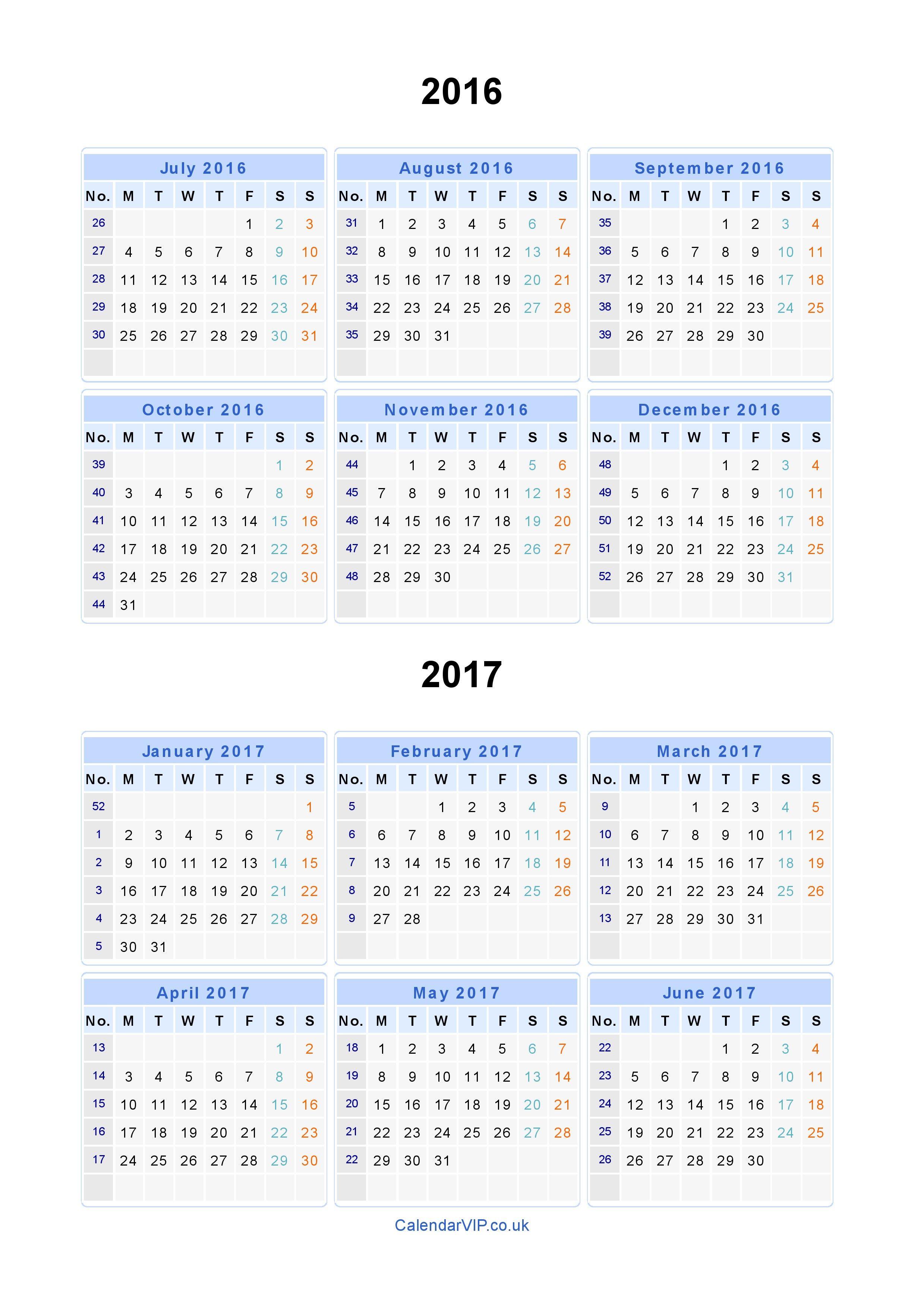 Split Year Calendars