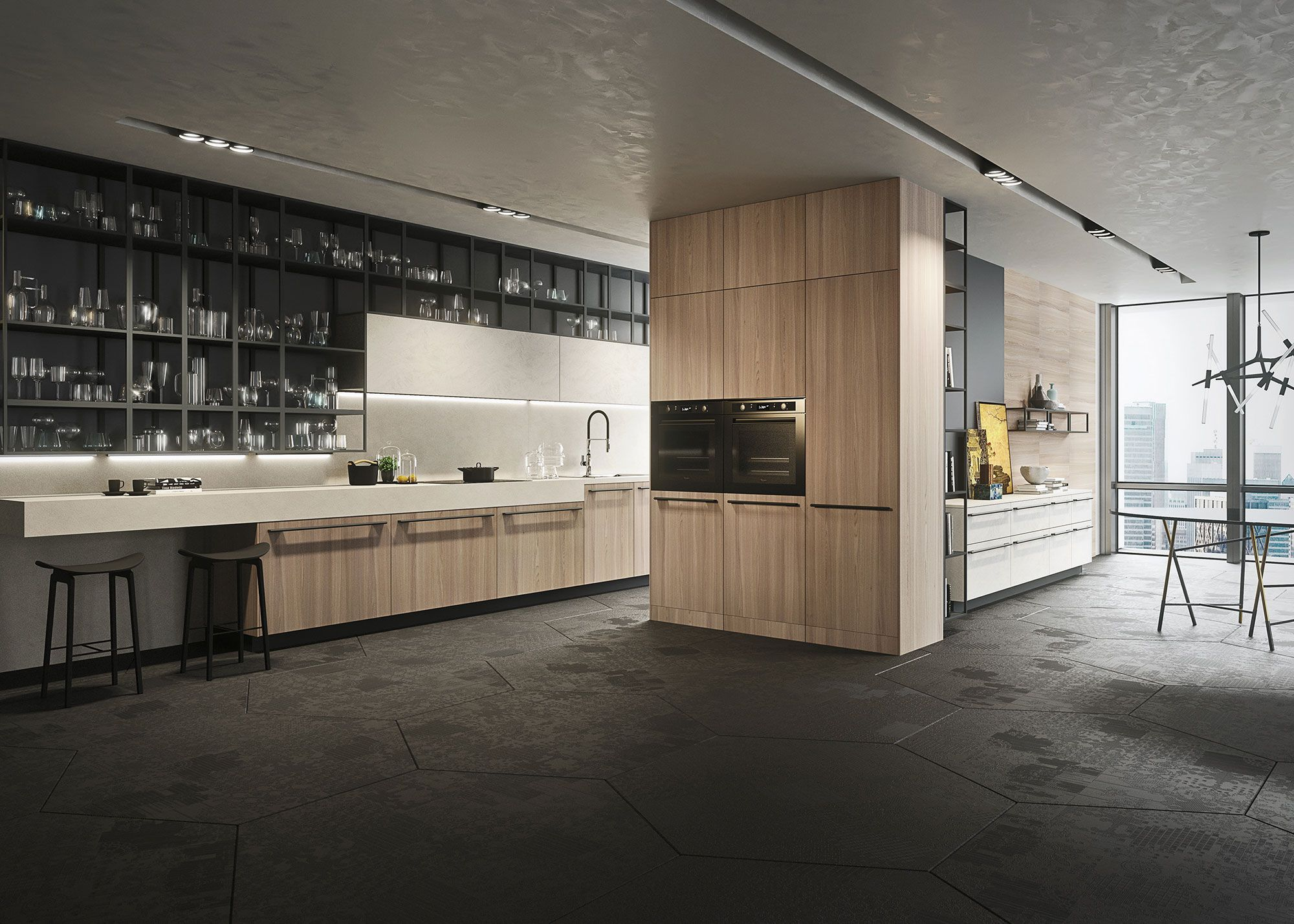 Open Keuken Bar : Een ruime open keuken met een unieke bar en gave barkrukken een