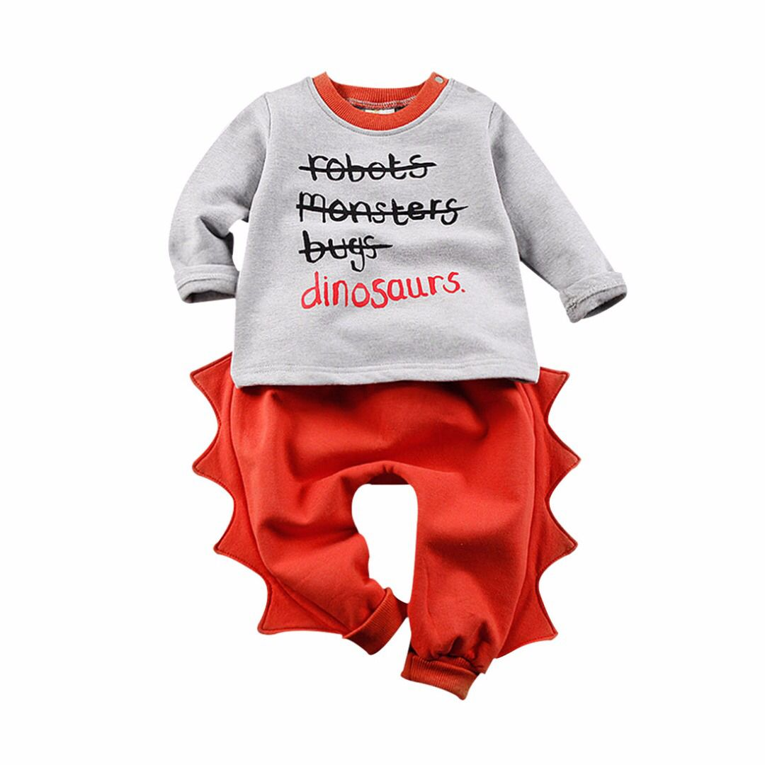 Baby/Toddler's Cotton Dinosaur Long-Sleeve Pullover & Pants Set (2pc-set), 58% discount @ PatPat Mom Baby Shopping App
