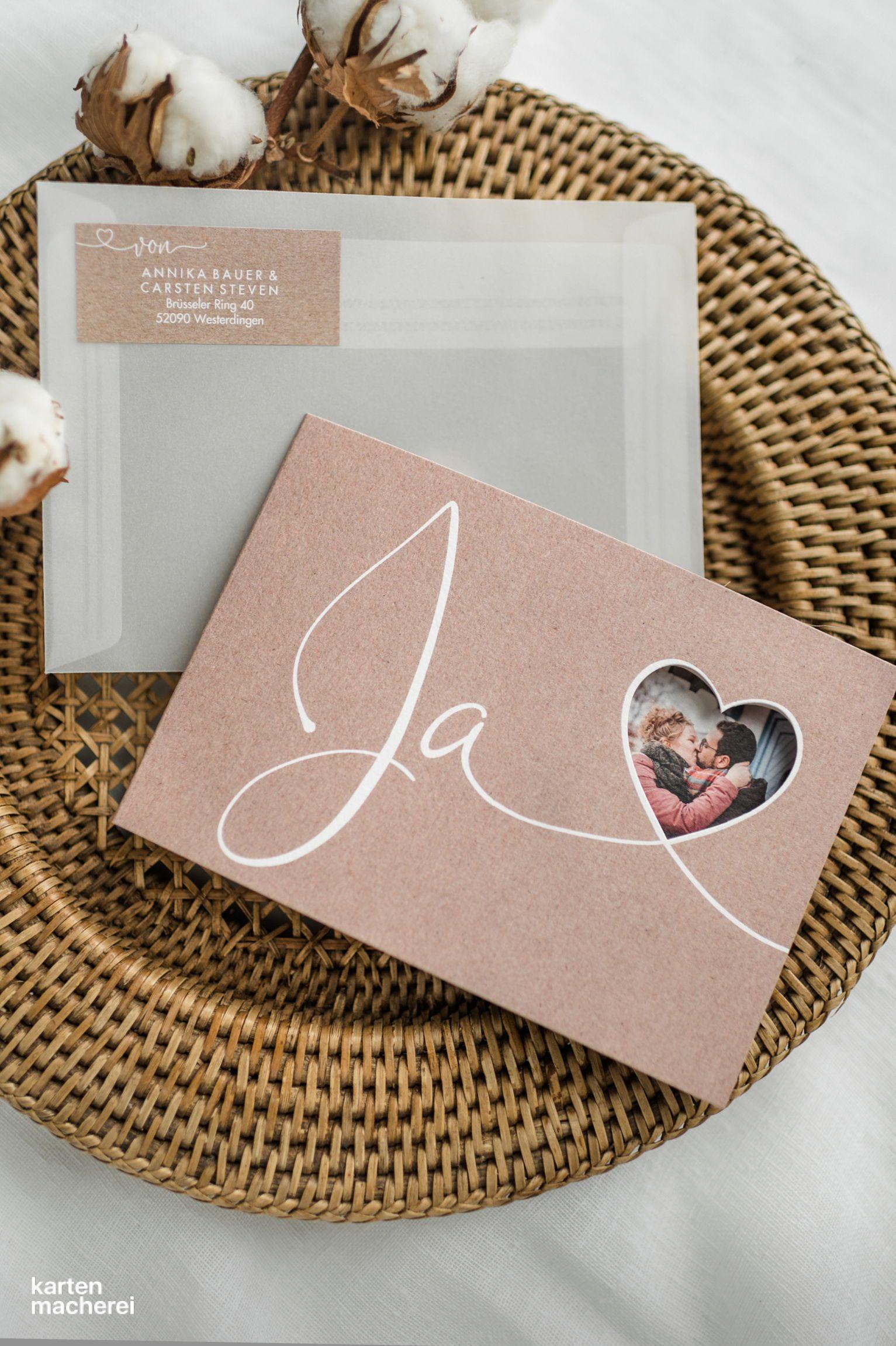 Hochzeitseinladung Herzglück (gestanzt) #weddingonabudget