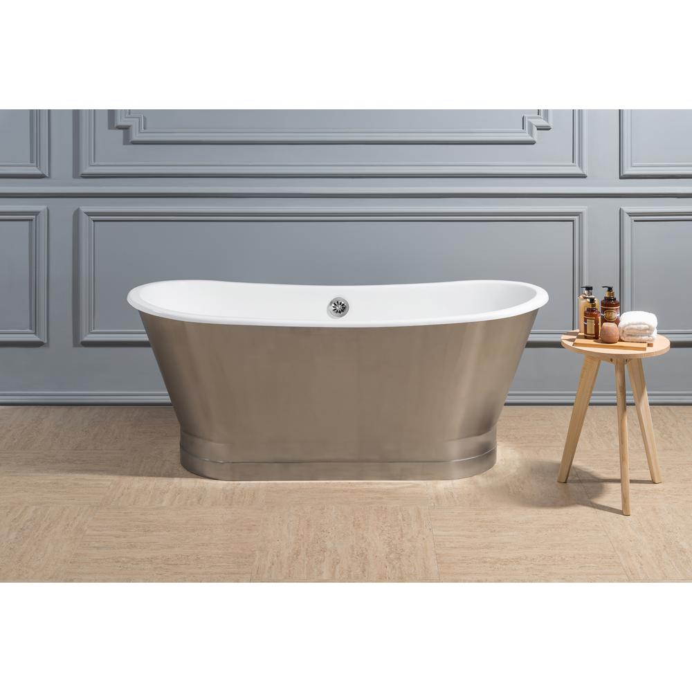 Incroyable Cast Iron Flatbottom Non Whirlpool Bathtub In Chrome, Brushed Chrome