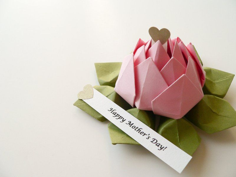 Origami Lotus Flower in Robin's Egg Blue and Moss Green ... | 600x800