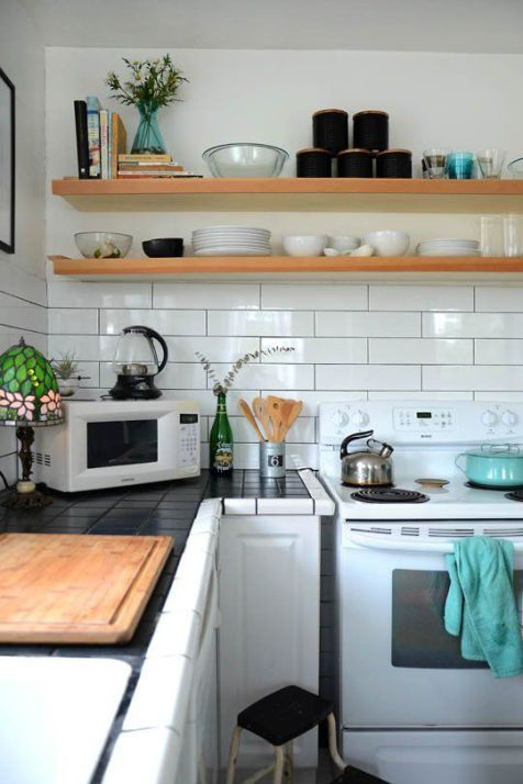 Long Or Larger Subway Tile Backsplash Are Great For A More Modern And Simple Look In Kitchen With No Upper Cabinets