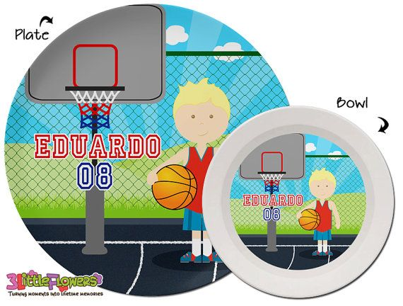 Basketball Plate and Bowl Set - Personalized Melamine Children Plate Cereal Bowl - Choose HAIR SKIN  sc 1 st  Pinterest & Basketball Plate and Bowl Set - Personalized Plastic Children Plate ...