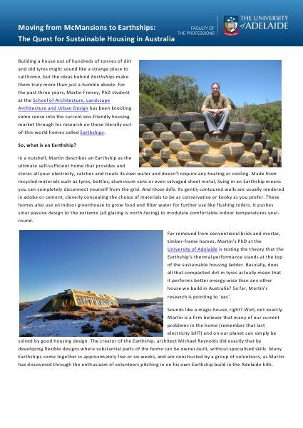 Moving from McMansions to Earthships: The Quest for Sustainable Housi…