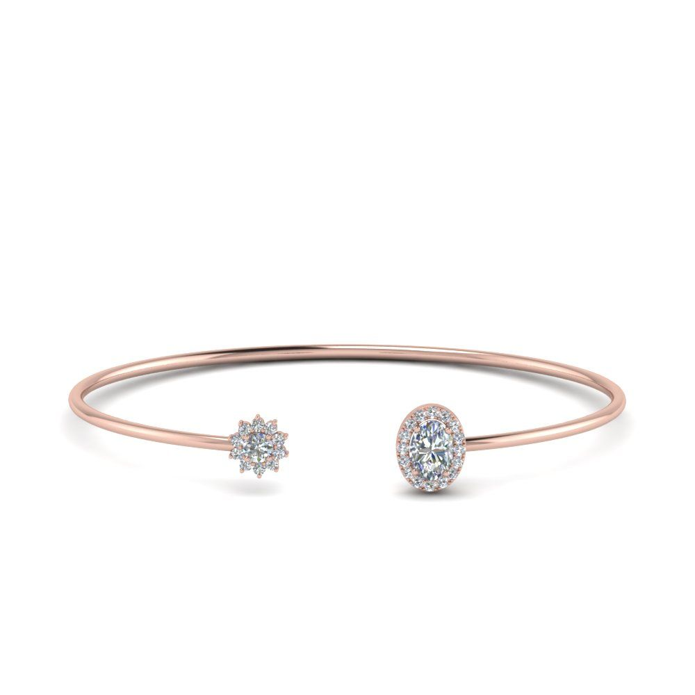 Flower Open Cuff Bracelets with Diamonds in 14K Rose Gold exclusively styled by Fascinating Diamonds