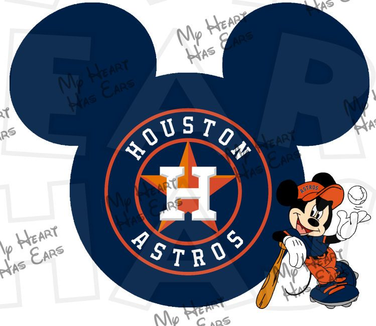 b226e4644 Astros baseball with Mickey Mouse INSTANT DOWNLOAD digital clip art DIY for  shirt    My Heart Has Ears