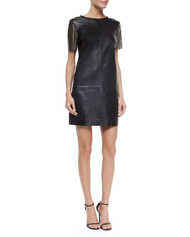 Short-Sleeve Leather Sheath Dress, Black, Women\'s, Size: L - Nicole ...