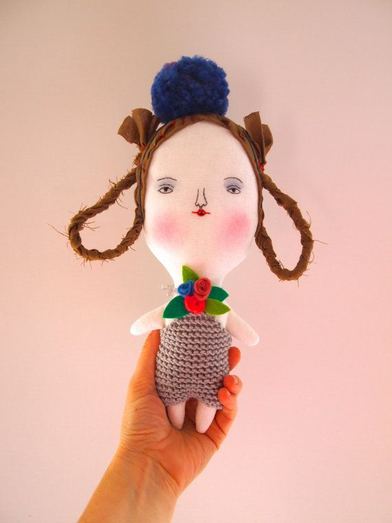 Linen doll hand embroidered by JessQuinnSmallArt on Etsy
