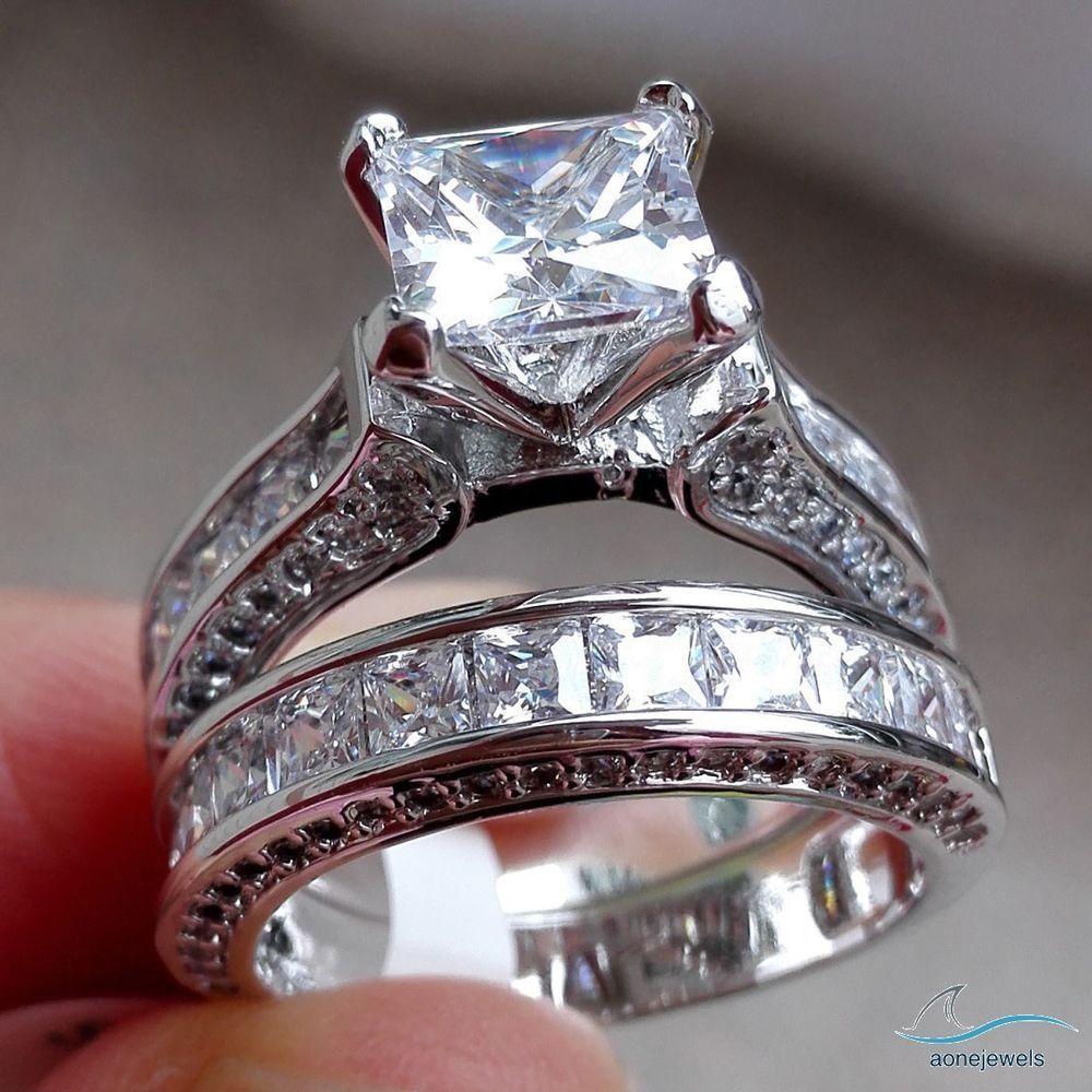 2 10 Ct Interlock Setting Princess Diamond 925 Silver Engagement Bridal Ring Set