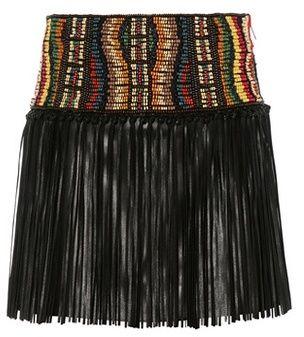 Valentino Beaded leather skirt