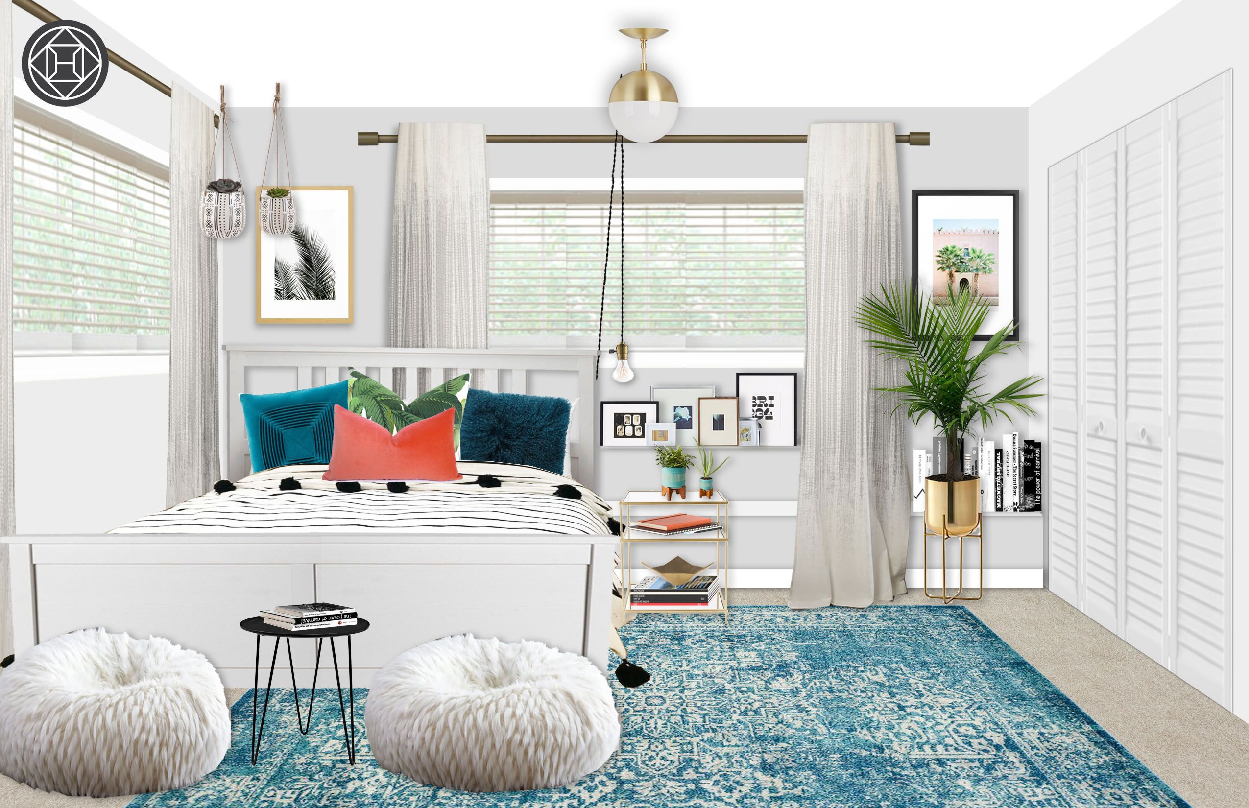 Eclectic, Bohemian, Glam, Global Bedroom Design by Havenly ...