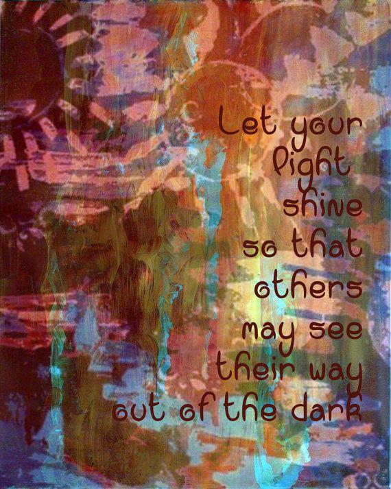 Inspirational Sentiment Art Print 8x10 Let Your Light by Eternitee, $18.00