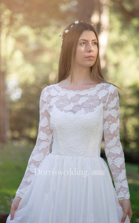 10fc1e982e0 Long Sleeve Chiffon Lace Wedding Dress