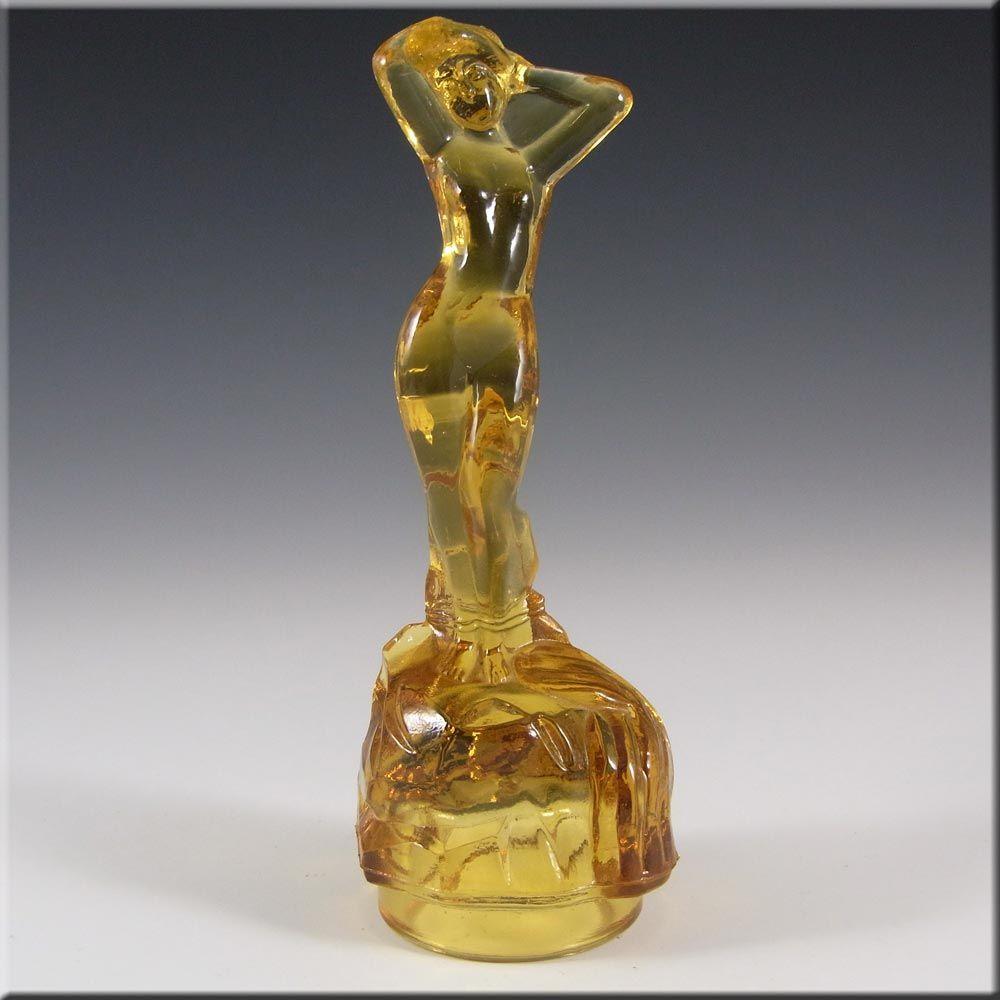 Bagley Art Deco Depression Vintage Nude Green Glass Lady