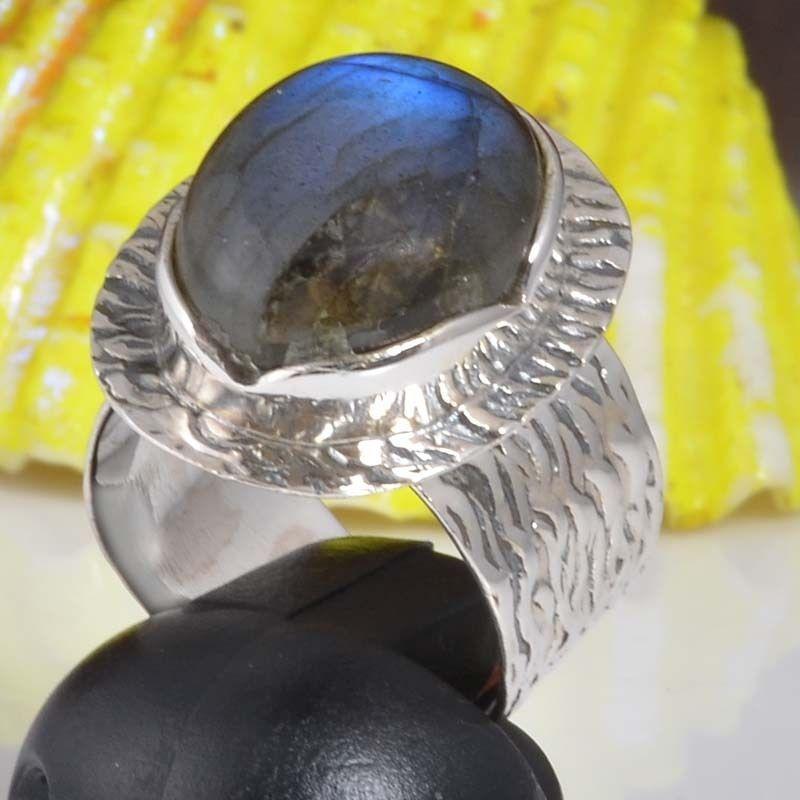 925 SOLID STERLING SILVER LABRADORITE EXCLUSIVE FANCY RING 7.67g DJR9442 SZ-7 #Handmade #Ring