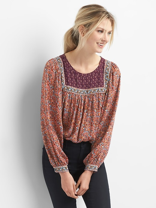 0cfe4359b5 ... business casual clothing selection at Gap. Gap Womens Mix-Print Paisley  Top Pink Floral