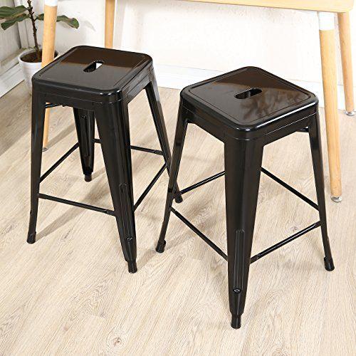 Belleze Black 24inch Metal Counter Bar Stools Set Of 2