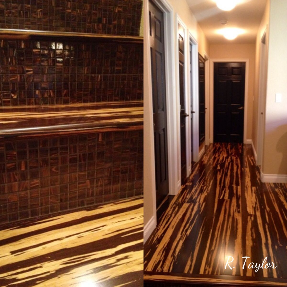 Tiger Zebra Bamboo Hardwood Flooring On Stairs And In Hallway