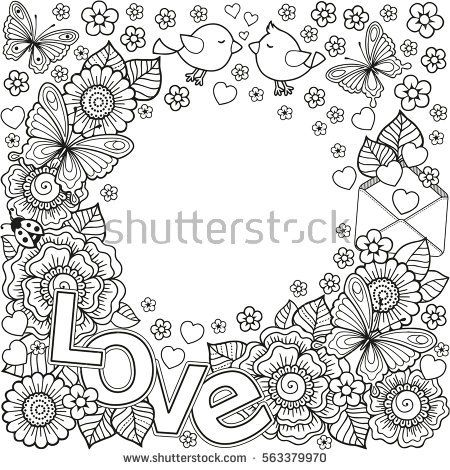 Vector Abstract Coloring Book For Adult Design Wedding Invitations And Valentines Day Of Flowers Hearts Envelope Arrow Heart Bird Kiss