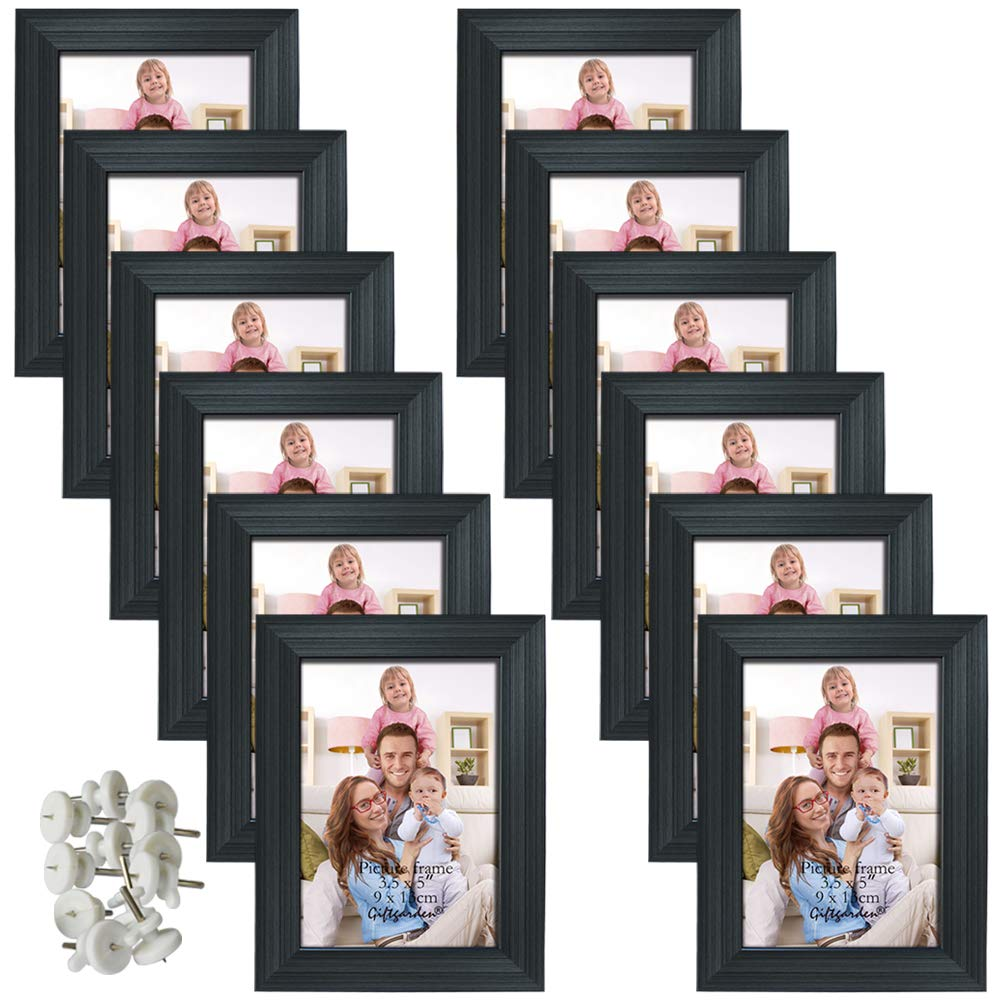12 Packs 3 5x5 Black Picture Frame Set For Desktop Display And Wall Mounting Indoor Decor Picture Frame Sets Black Picture Frames Picture Frames