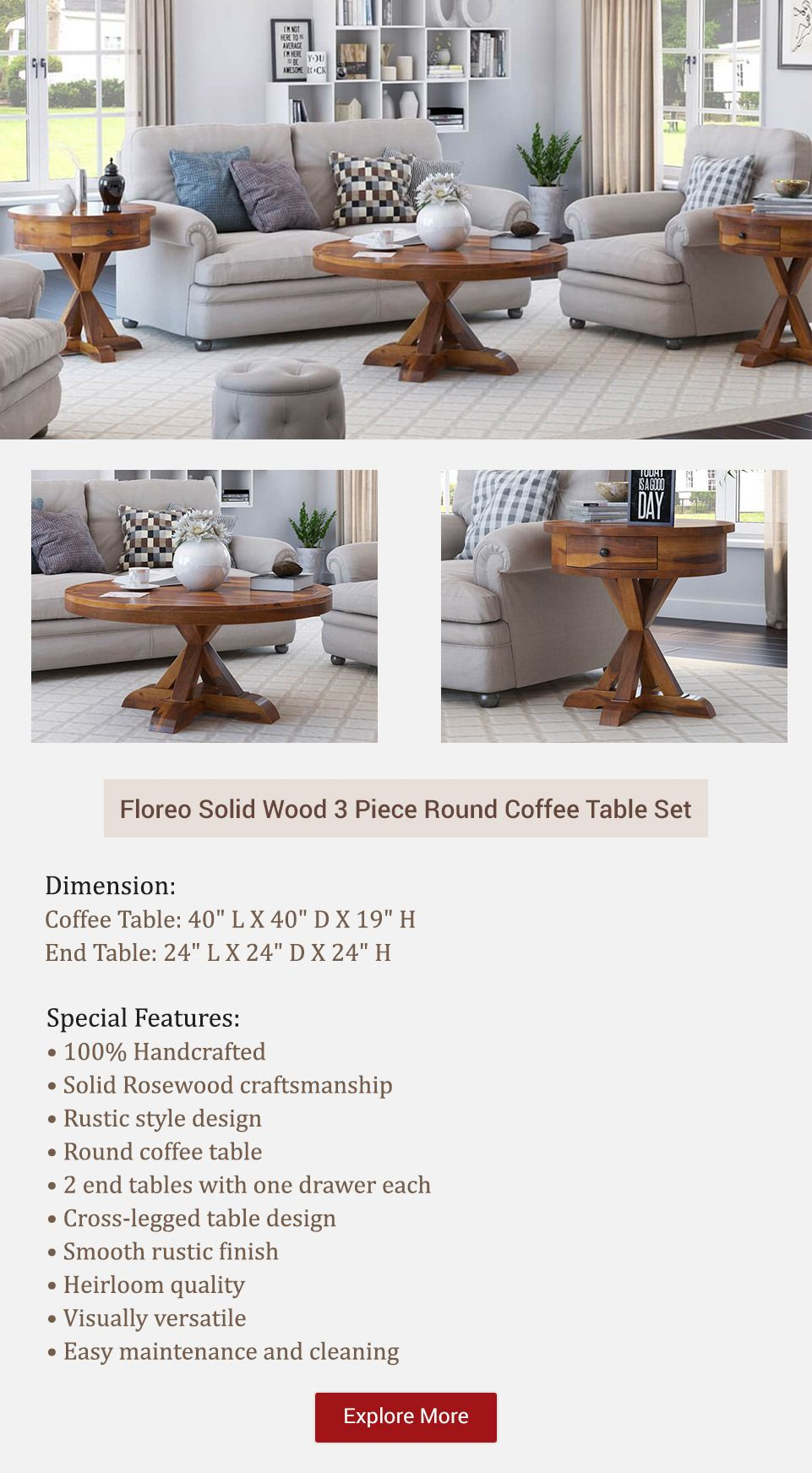 Floreo Solid Wood 3 Piece Round Coffee Table Set Coffee Table Setting Round Coffee Table Sets Round Coffee Table [ 1743 x 961 Pixel ]
