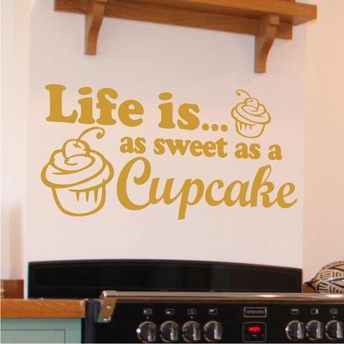 Life Sweet As CupCake Wall Sticker Art Decor Mural Graphic Kitchen ...