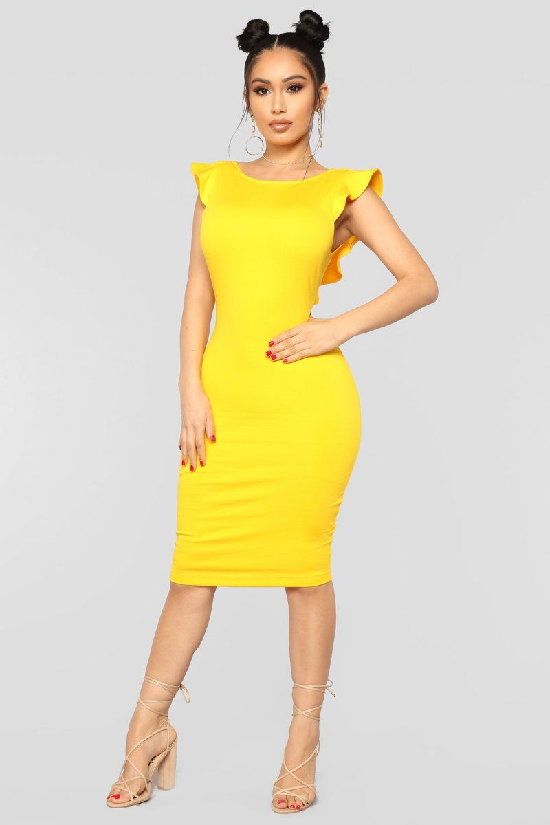 Beautiful Outlook Ruffle Dress Yellow Fashion nova