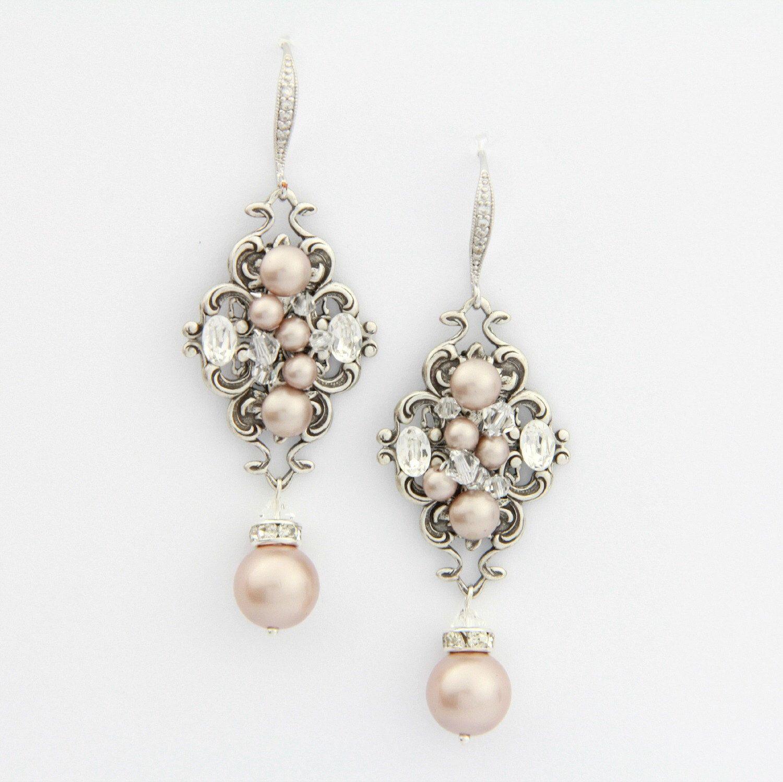 Blush Champagne Pearl Earrings, Chandelier Wedding Earrings, Crystal  Wedding Earrings, Chandelier Bridal Earrings , Vintage Wedding Jewelry
