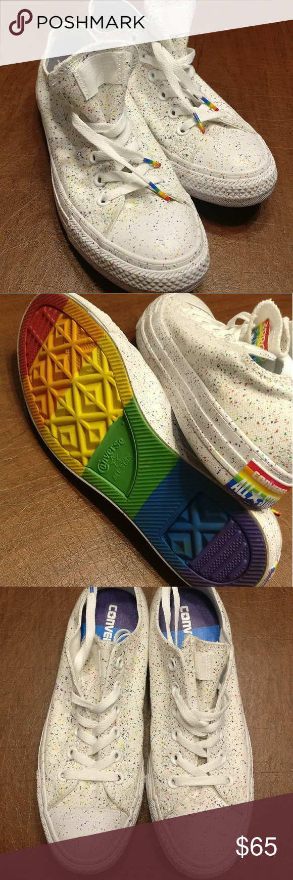 15c724bf0e630b White Low Top Converse Rainbow Splatter Pride Super fun white low tops.  Only worn once