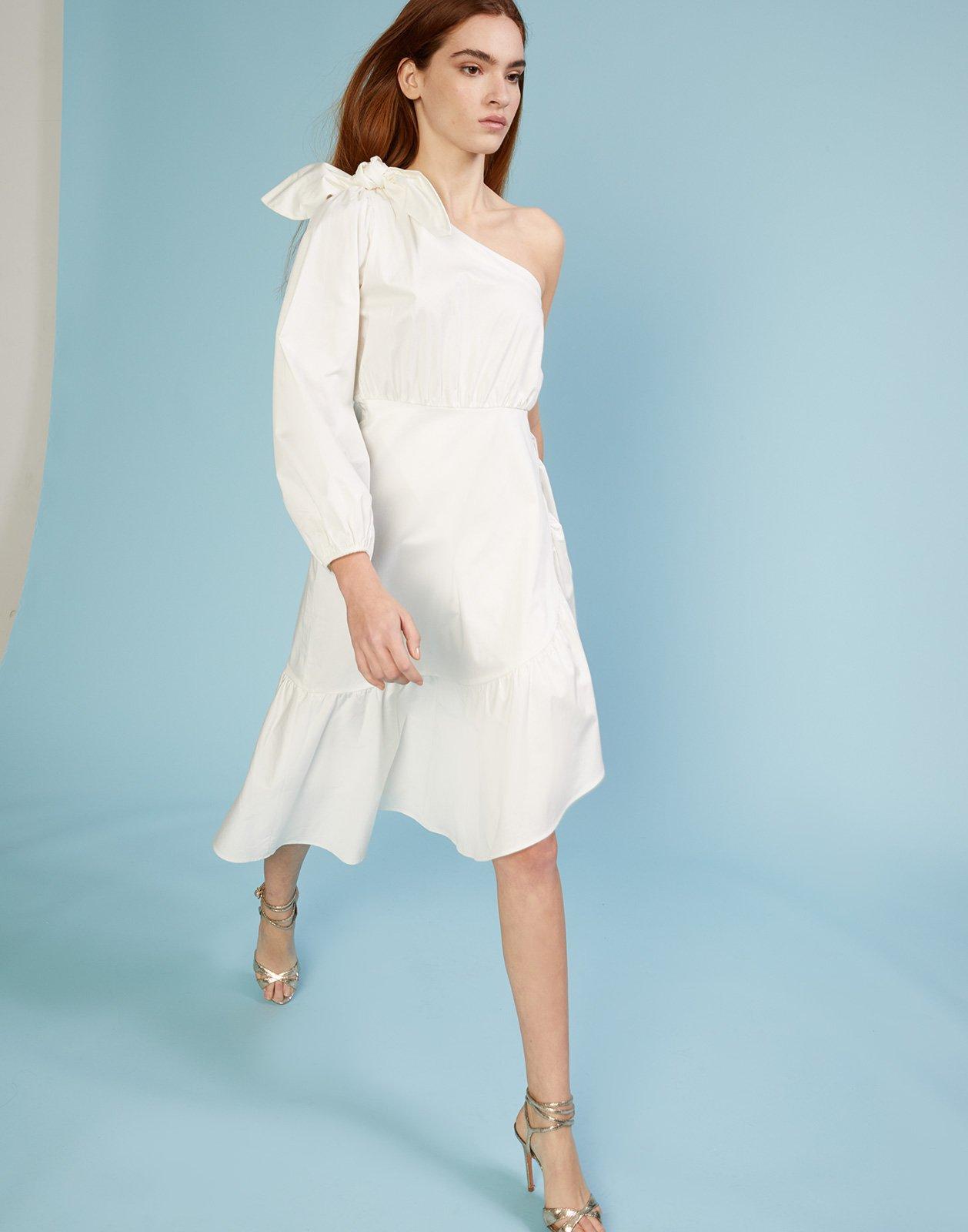 One Sleeve White Dress