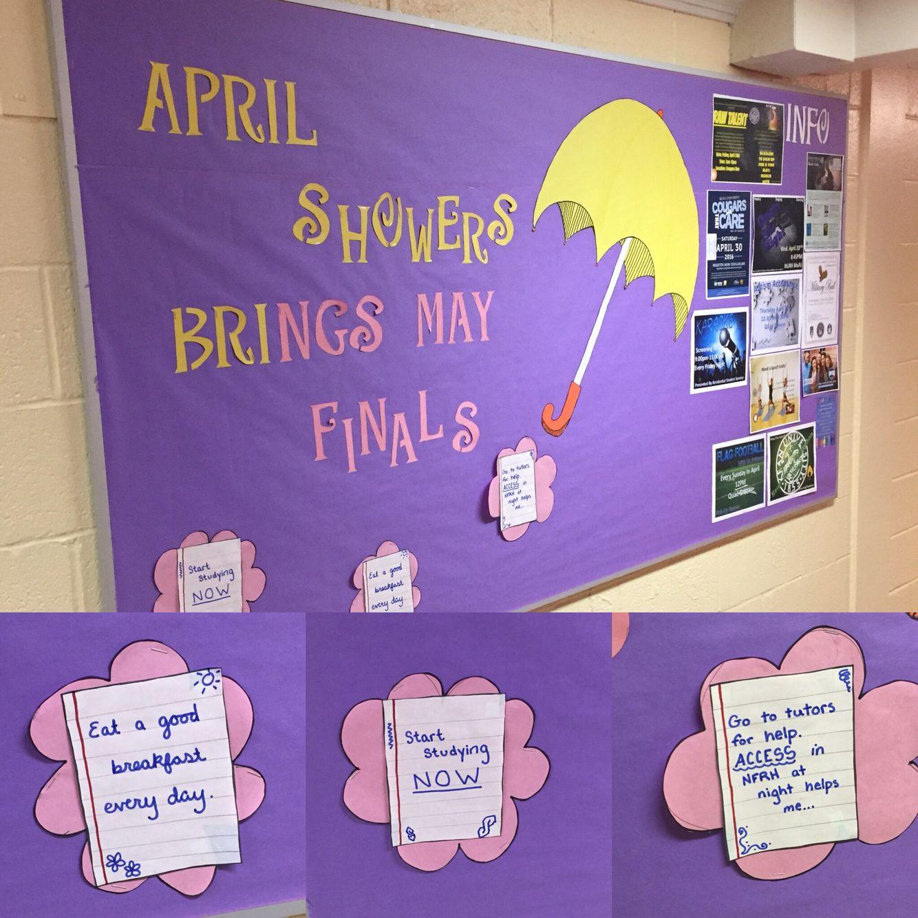 April bulletin board for freshman college RA bulletin