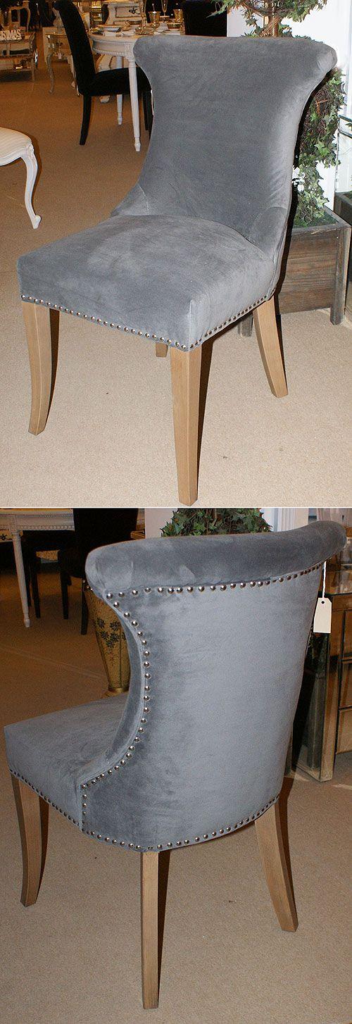 French Grey Velvet Studded dining Chair | Velvet dining ...
