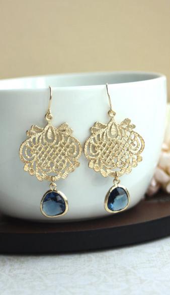 ac0d517ce Navy Blue Gold Earring, Blue Lace Earrings. Gold Lace Earrings ...