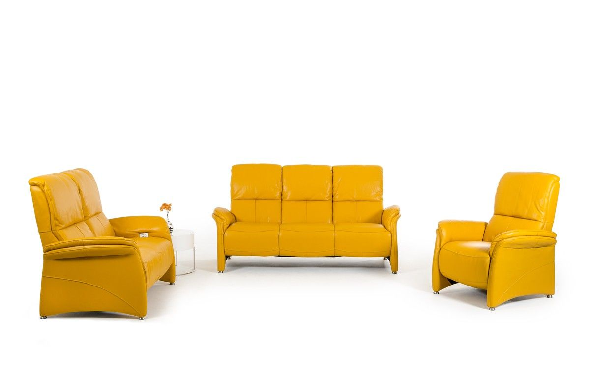 Divani Casa Italia Srl Divani Casa Sunflower Modern Yellow Italian Leather Sofa