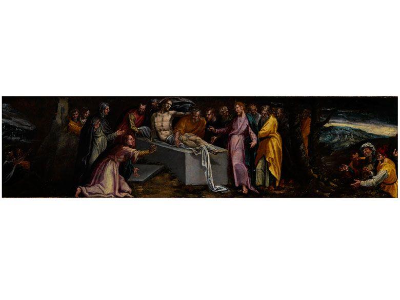 ERWECKUNG DES LAZARUS Öl auf Holz. 37,5 x 146 cm. Ungerahmt. Beigegeben ein Gutachten von Prof. Emilio Negro. Pauwels Franck, bekannter jedoch unter dem Namen...