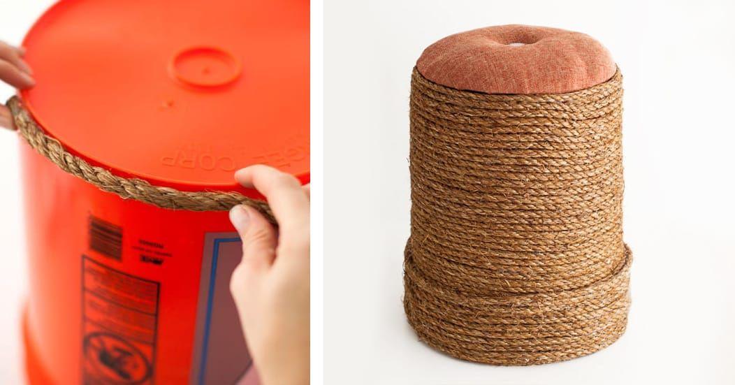 creare un pouf fai da te con il riciclo di un secchio di plastica
