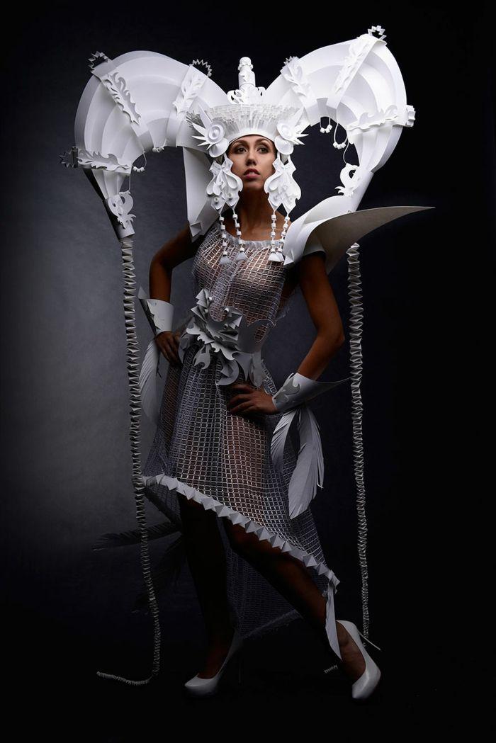 eine kunstvolle idee f r ihr karnevalskost m aus papier papiermode papier kleidung und