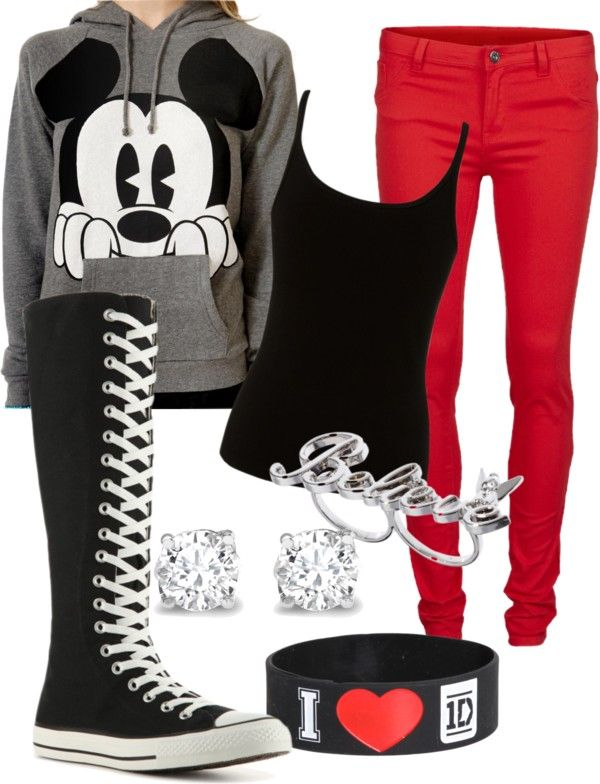 """""""Out at Disney"""" by greeneyezz ❤ liked on Polyvore i would wear normal high top converse and 1D"""