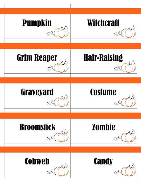 printable halloween game cards for pictionary charades hangman and