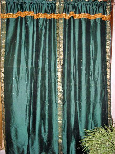 2 Midnight Green Art Silk Curtain Panels Sari Curtains New Window