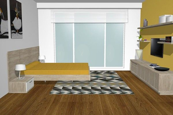 Vista lateral de la habitación con muebles de salón del catálogo ONA ...
