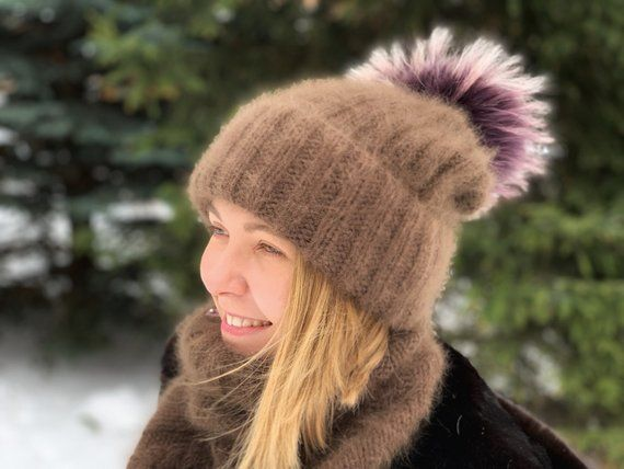 3bbe87551d5 Knit hat and scarves set for women beanie with fur pom pom