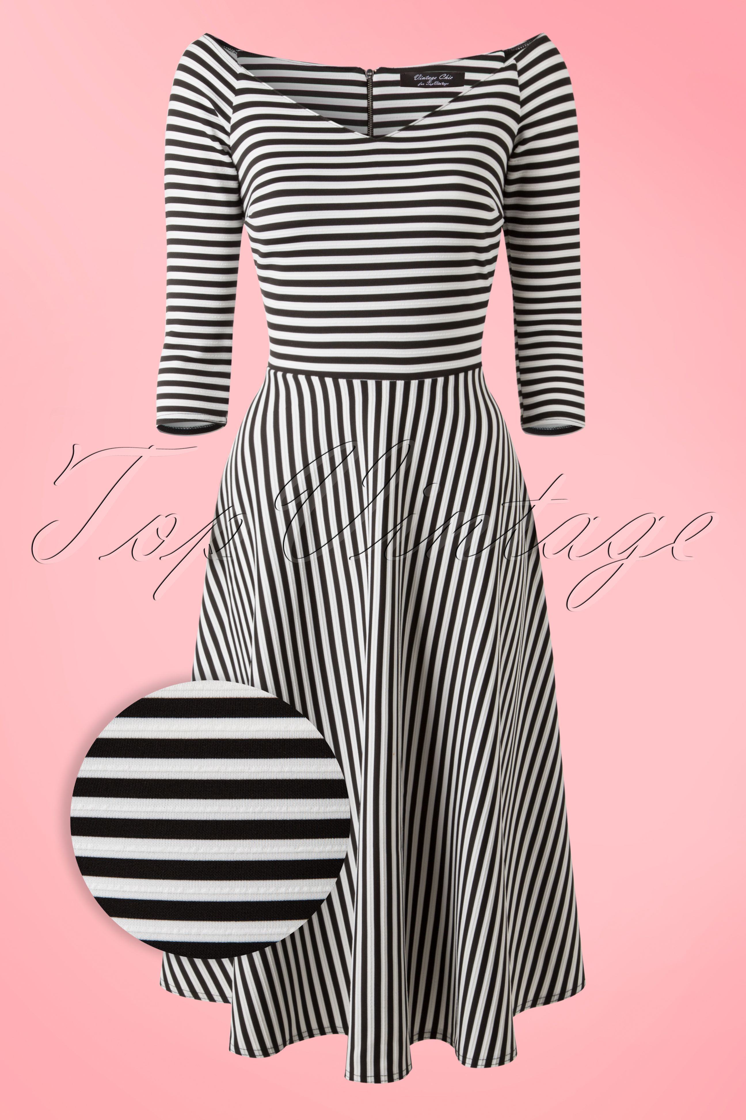 Vintage Chic 50s Alma Swing Dress in Black and White Stripes ...