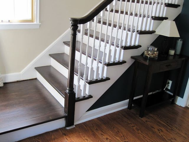I Want To Paint My Stairs And Top Railing Dark Instead Of Matching The  Floor,