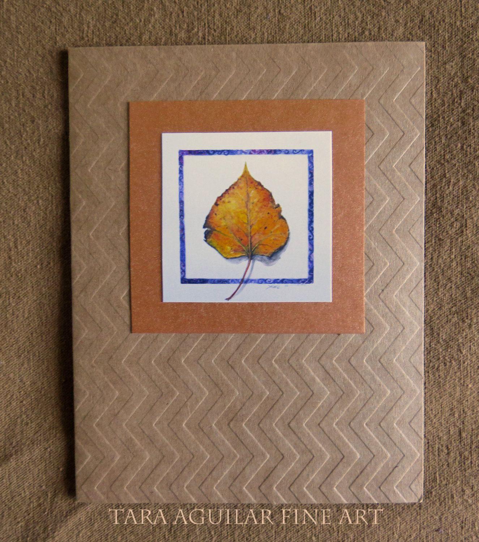 Handmade Card, A-2 Size, Aspen Leaf, Embossed Cards, Original Artwork, Card Set…