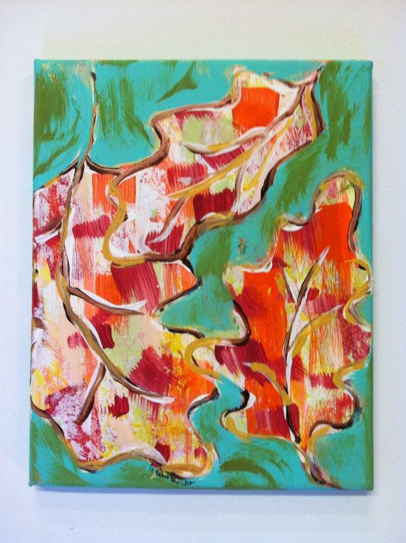 Falling Fall Leaves Acrylic Painting by CeceliaBlenkerStudio, $45.00