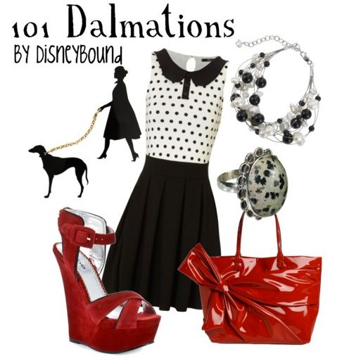101 Dalmatians ♥  I would only change the shoes:  small kitten heel slingbacks in patent leather red, and then I would wear it in a heartbeat!