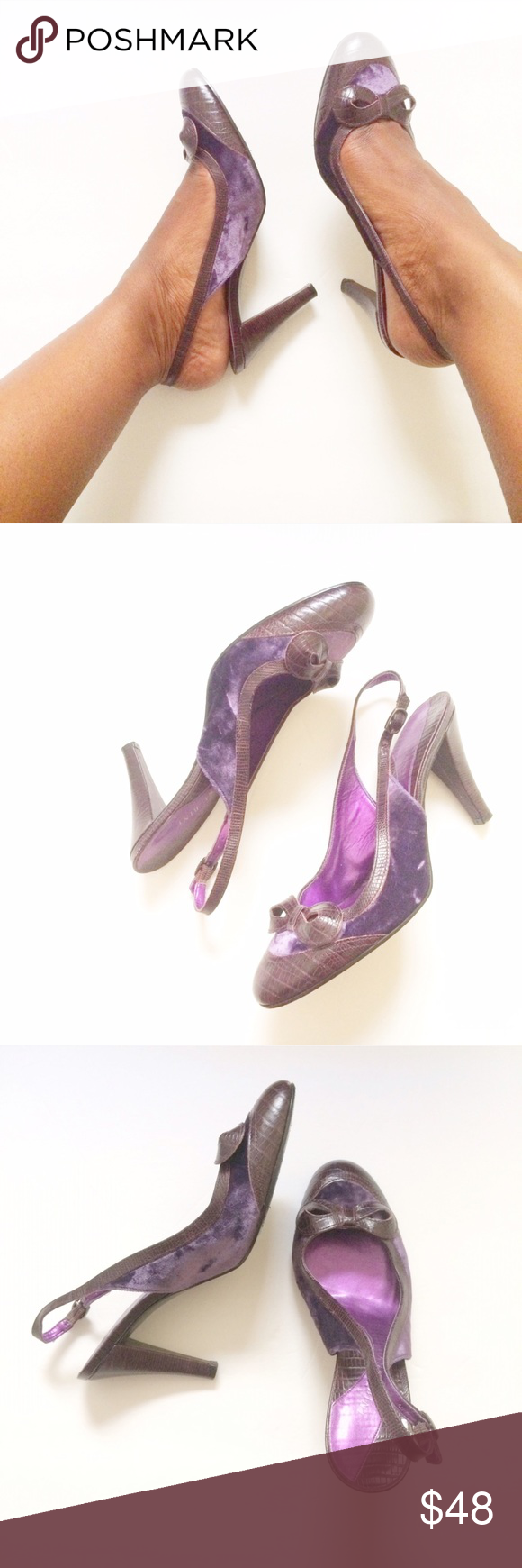 Purple Velvet + Leather Slingback Heels w/ Bow Purple crushed velvet and chocolate brown crocodile inspired leather work perfectly together on these slingbacks. The added detail--the beautiful bow on the toe. Size 8M. Heels: 3in. Brand: Gianni Bini. Listed for exposure. Vince Camuto Shoes Heels