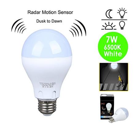 Motion Sensor Light Bulb 7w 60w Equivalent Radar Smart Bulb Dusk To Dawn Led Motion Sensor Light Bulbs E26 Bas Motion Sensor Lights Light Sensor Motion Sensor
